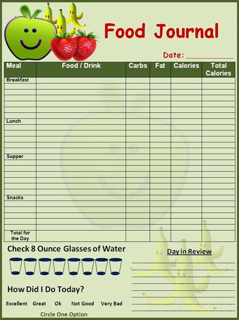 printable food diary form weekly food journal template new calendar template site