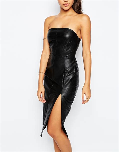 Dress Look lyst missguided strapless leather look pencil dress in black