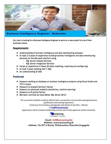 Business Intelligence Engineer by Business Intelligence Engineer Vacancy In Sri Lanka