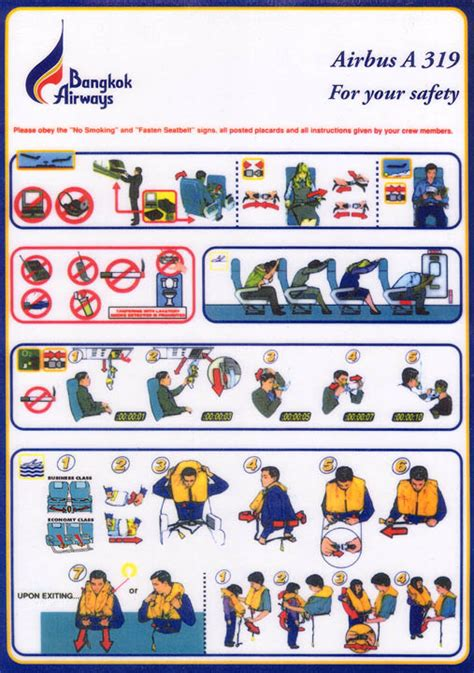 Collection Of Airline Safety Cards by Airline Safety Card For Bangkok Airways A319 Jpg