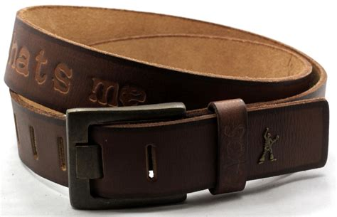 mens kaos brown leather belt wide prong buckle