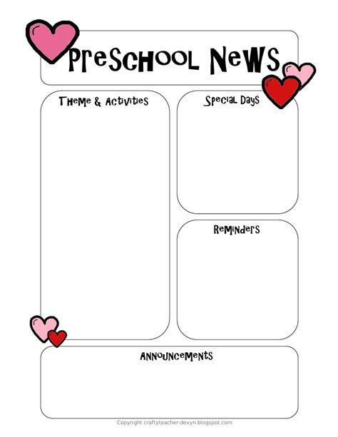 preschool newsletter template the crafty preschool newsletter template