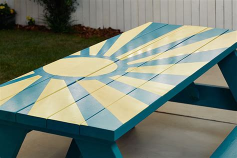 cool painted picnic tables diy sunburst painted picnic table the home depot