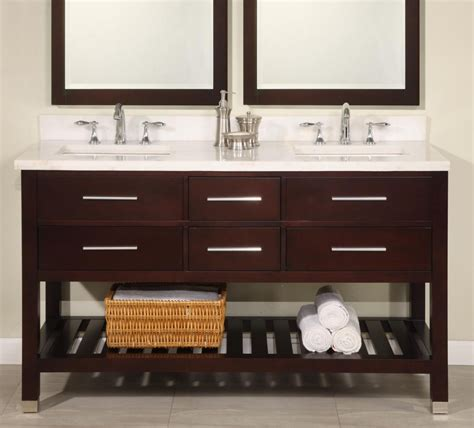 60 Inch Double Sink Modern Cherry Bathroom Vanity With Bathroom Vanity Shelving