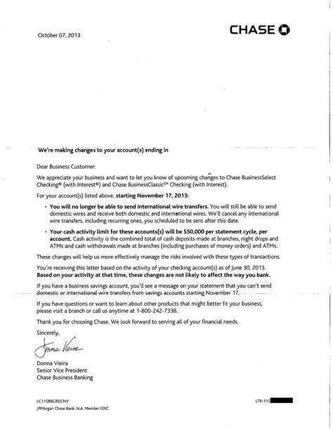 Bank Details Letter To Customers Jpmorgan