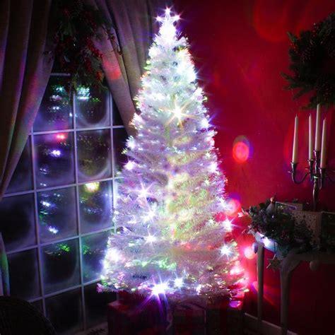 fibre optic white tree with multicoloured led