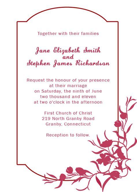 Burgundy Floral Border Wedding Invitation Wedding Invitation Templates Printable Invitation Kits Border Invitation Templates Free