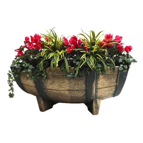 Drainpipe Planters by Rectangular Vintage Like Half Barrel Planter With Drain