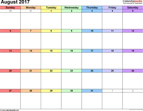 Agenda Calendar August 2017 Calendars For Word Excel Pdf