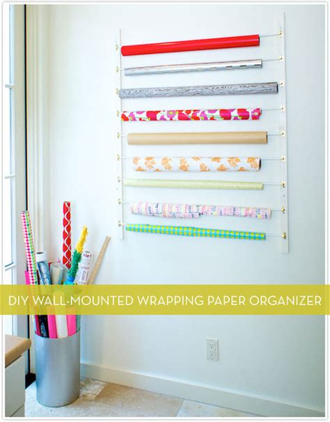 gift wrap wall organizer diy wall mounted wrapping paper storage organizer curbly