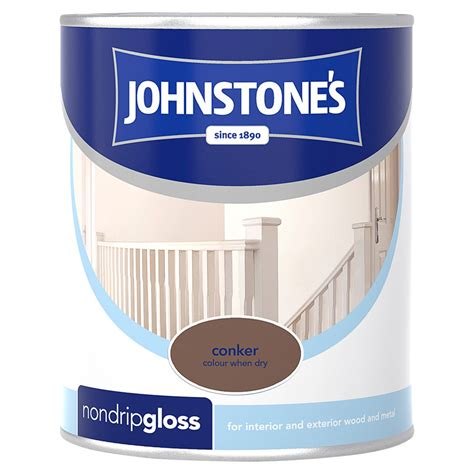 johnstones  drip gloss paint conker ml decorating