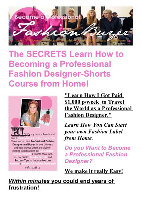 the secrets learn how to becoming a professional fashion