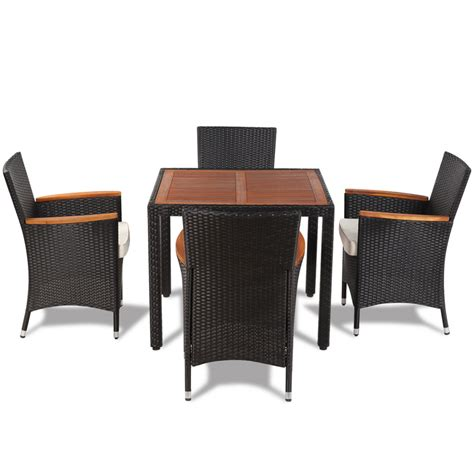 Wicker Dining Table Set Vidaxl Poly Rattan Garden Dining Set With 4 Chairs And Table With Wood Top Vidaxl
