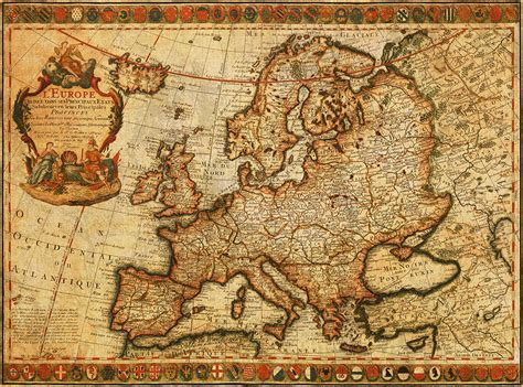 vintage antique map of europe french origin circa 1700 on