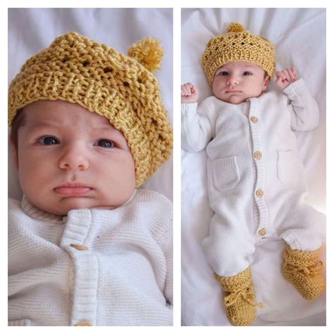 tracey knits jude in handmade gold knits knit hat and baby booties by