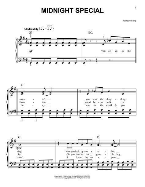 song special midnight special sheet by railroad song easy piano