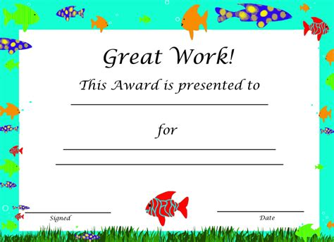 certificate template for children free certificate templates downloads