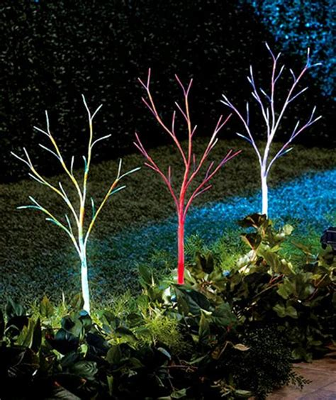 color changing tree set of 3 color changing solar light trees decorative