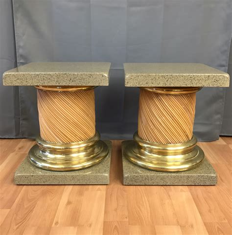 lacquered brass pair of lacquered top reed and brass columnar end tables past