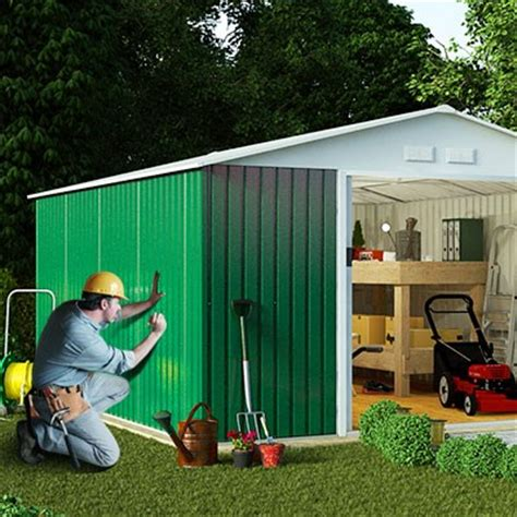 Metal Shed Installation by Billyoh Boxer Apex Metal Shed Outdoor Garden New Storege