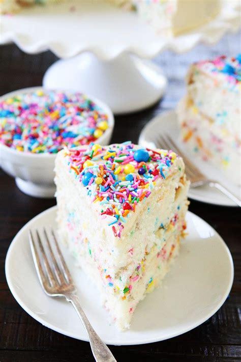 ideas  funfetti cake  pinterest confetti cake recipes birthday cakes  drip