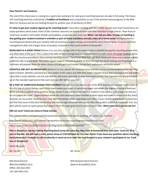thank you letter to band parents letter to remind parents to sign up for band images