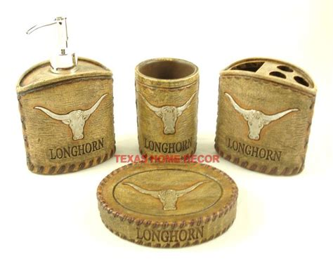 texas longhorn bathroom set western rustic longhorn bathroom accessory set 4 pieces