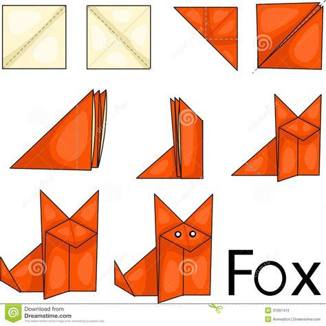 origami illustrator origami fox stock vector illustration of background