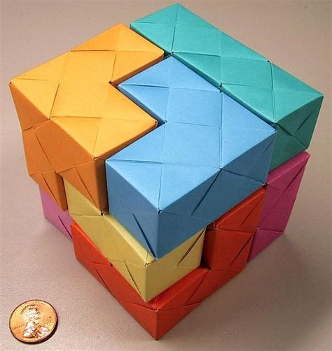 Origami Soma Cube - sonobe soma cube creative photos and cubes