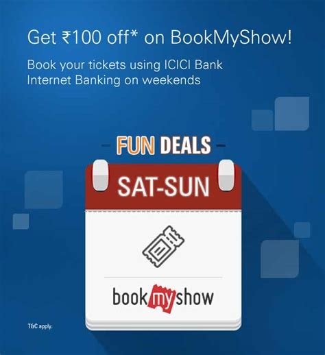 bookmyshow offer code bookmyshow offers coupons rs 100 discount icici bank