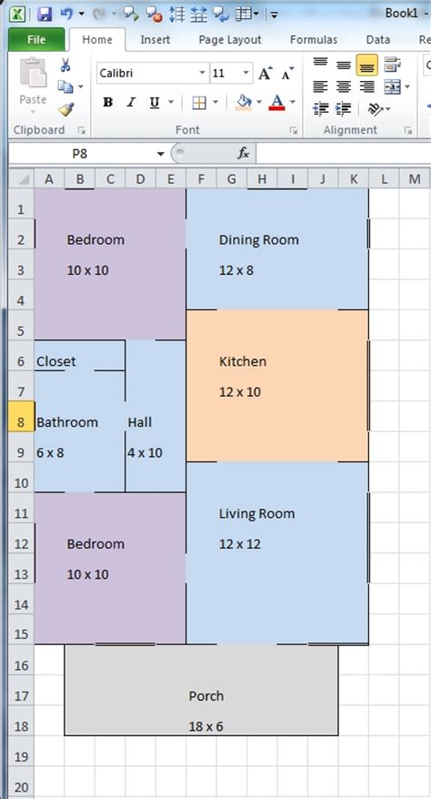 drawing floor plans in excel creating floor plans in excel