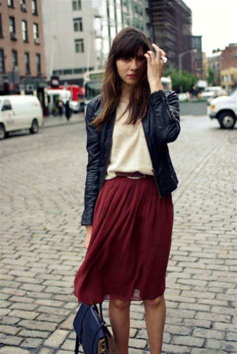187 pleated skirt with leather jacket at in seven colors