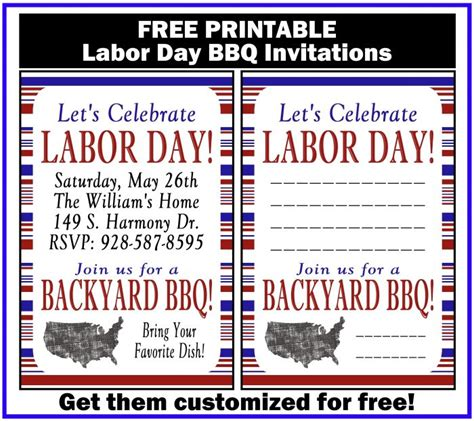 Free Printable Labor Day Invitations labor day bbq printable invitation printables 4