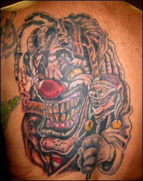 tattoo ink killer scary killer clown back tattoo design made by ink