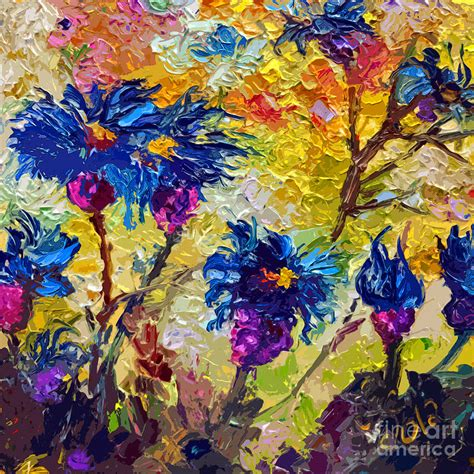 modern decorative flower painting cornflowers by ginette callaway