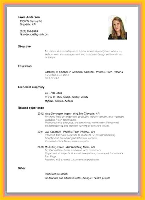 Exle Of Curriculum Vitae For Application by 15 Curriculum Vitae Sle For Application Letter