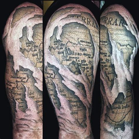 50 World Map Tattoo Designs For Men   Adventure The Globe