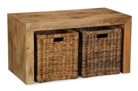 light small mango open coffee table with rattan baskets