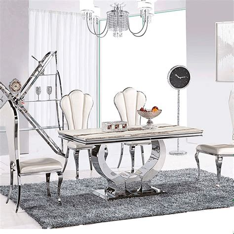 Hot Sale Dining Table Marble Top Modern Living Room Stainless Steel Dining Room Table