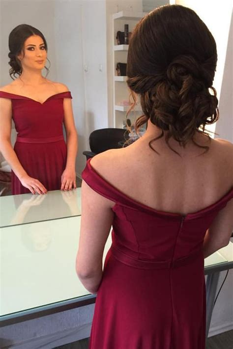 Elegant Off the Shoulder Burgundy Long Prom Dress