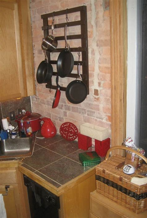 Small Kitchen Hanging Pot Rack Flickr Finds Diy Pot Rack Spices Up Tiny Kitchen