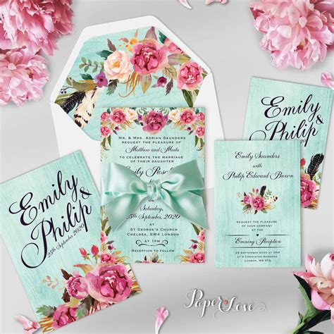 wedding invitation background designs mint green beautiful rustic flowers with mint background wedding day