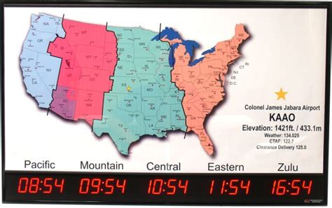 us time zones map with current local time brg tz518m time zone clock with map airport information