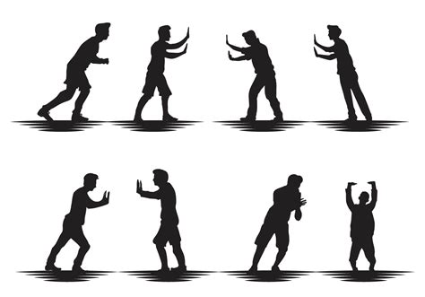 silhouette vector free man pushing silhouette vector download free vector