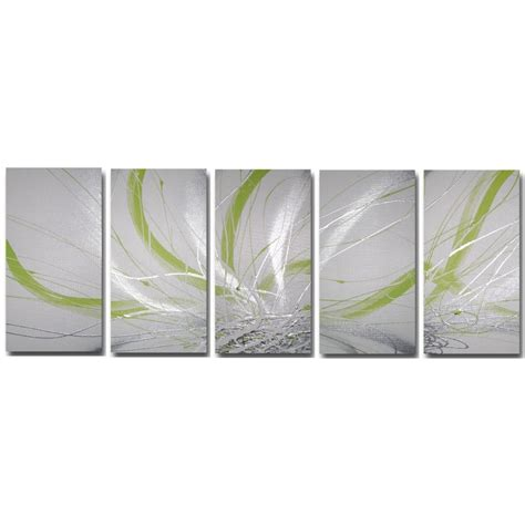 lime green wall decor abstract art canvas painting lime green silver white wall