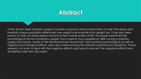 Bariatric Surgery Research Paper by Psychological Effects After Bariatric Surgery