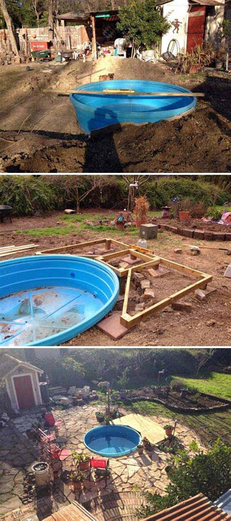 cheap backyard pools make your own stock tank pool homestylediary cheap swimming pools in the diy galvanized stock tank pool to beat the summer heat