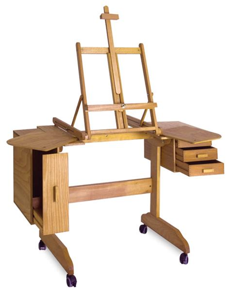 Artist S Easel Desk With Storage On Casters My Husband Desk Easel