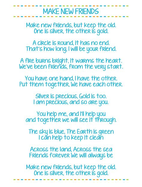 song for a friend make new friends printable scout song lyrics