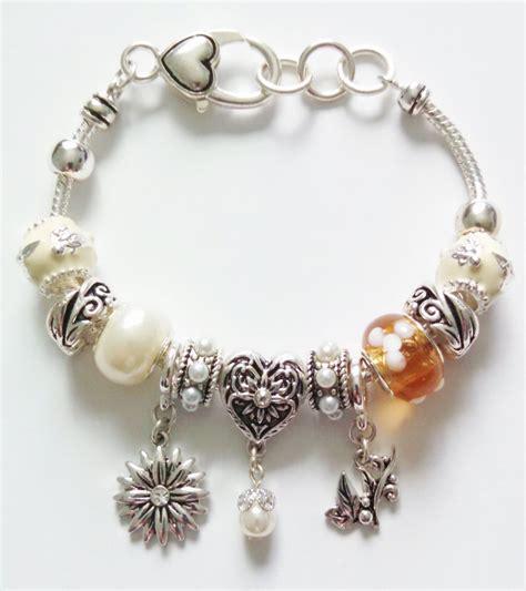 pandora inspired flower leaves charm bracelet